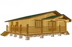 Одноэтажный дом с угловой террасой