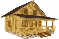 Проект дома-бани из бревна ручной рубки