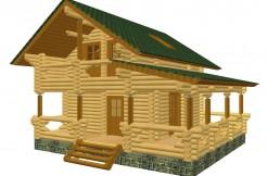 Проект дом-баня с просторной террасой