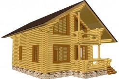Дом из бревна с большой террасой