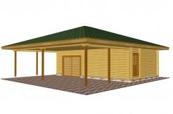 Проект гаража из бревна с хозблоком и комнатой