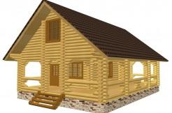 двухэтажный дом-баня из бревна