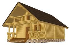 Деревянный дом-баня из бревна