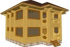 Двухэтажный дом из бревна 24см