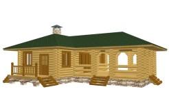 Дом-баня из бревна с террасой