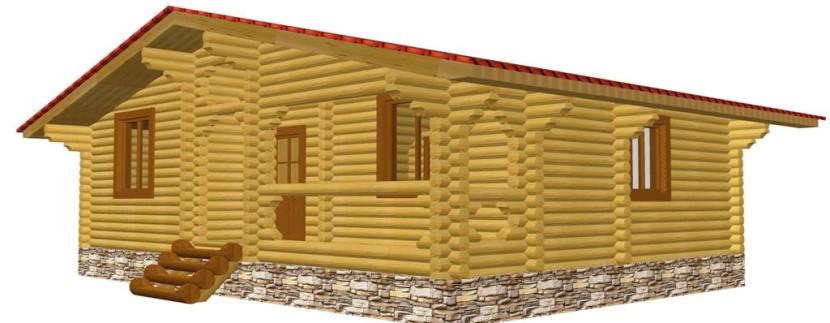 Проект одноэтажного дома из оцилиндрованного бревна