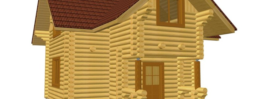 Двухэтажный дом из бревна 6на8м