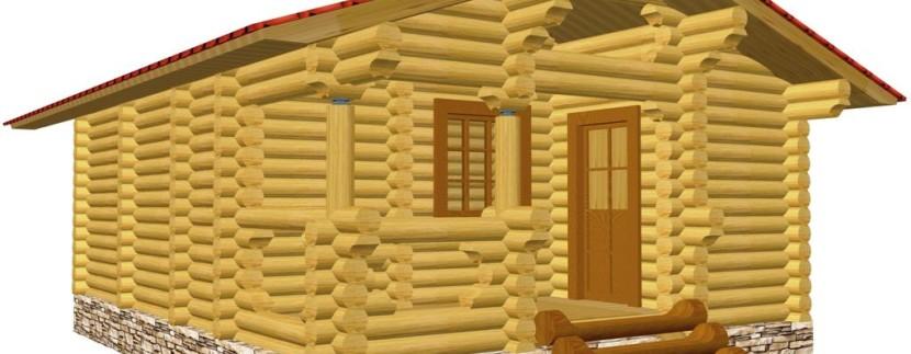 Одноэтажная баня из бревна
